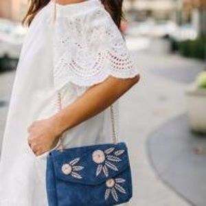 St. Martin Embroidered Crossbody Bag - Blue